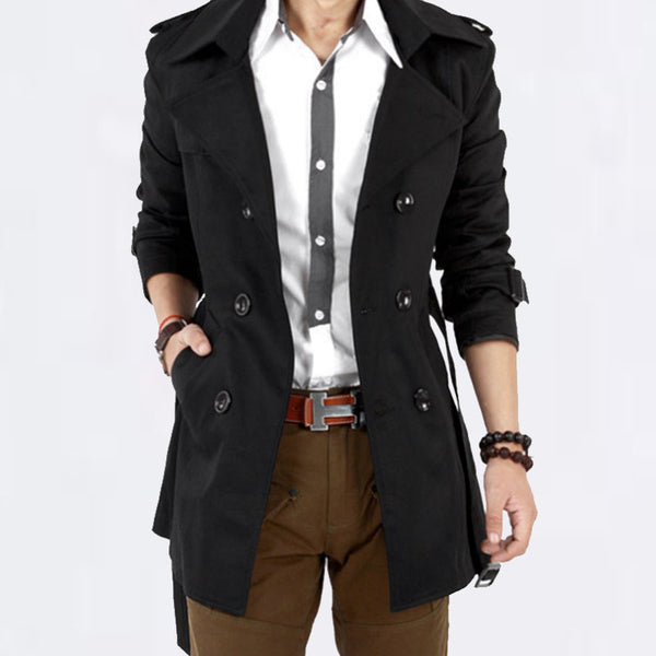 geartom Double Breasted Men's Trench Coats