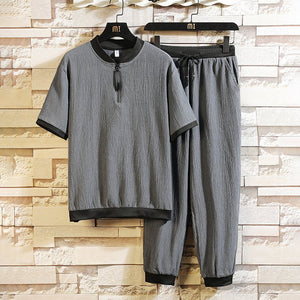 Men's Sets Short Sleeves Tops Drawstring Pants Casual Suits