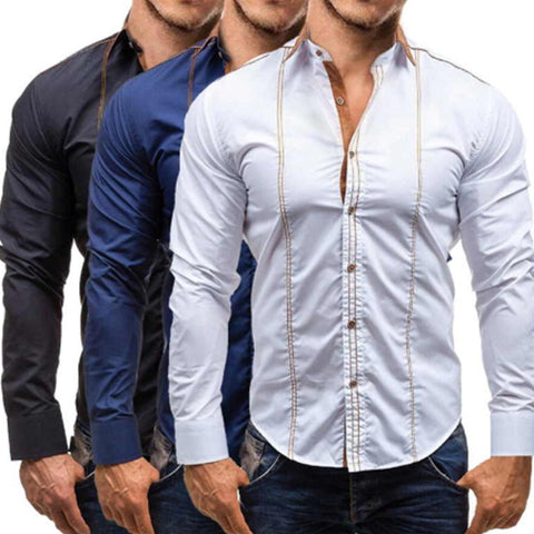 Fashion Youth Business Slim Plain Button Long Sleeve Shirt Top