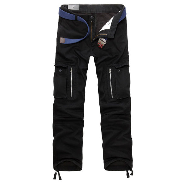 Men's Plus Velvet Thicken Multi-pocket Overalls Trousers