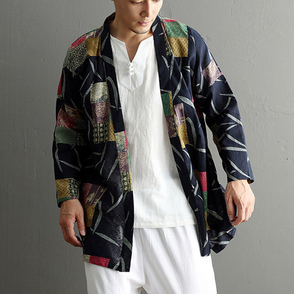 Sun Protection Tops Retro Art Printing Men's National Style Cardigan