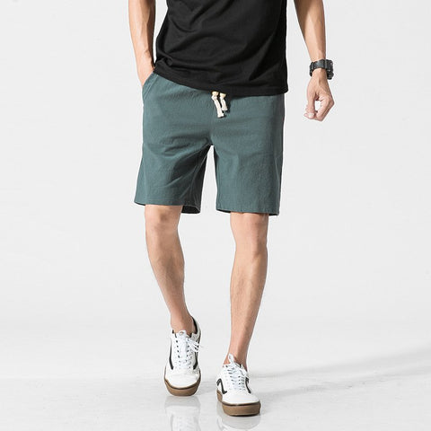 Chinese Style Cotton Linen Shorts Men's Casual Loose Beach Shorts