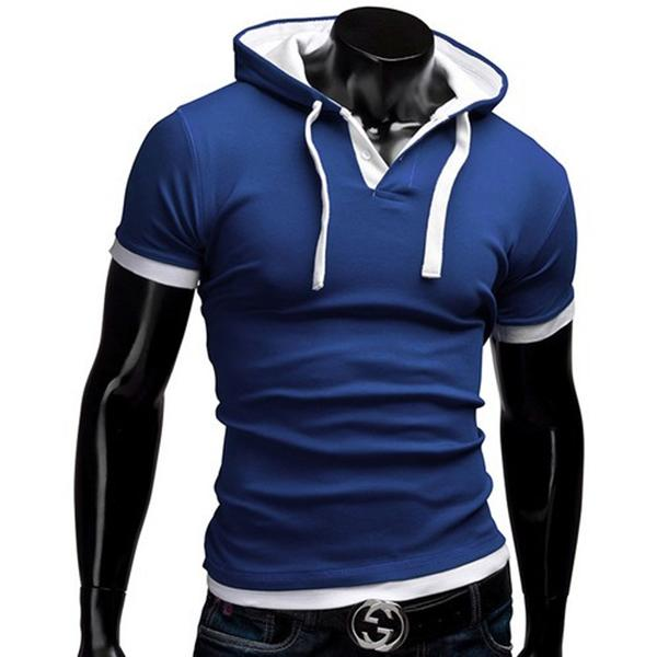 Men's Casual Hoodie POLO Short Sleeve Cotton T-Shirt