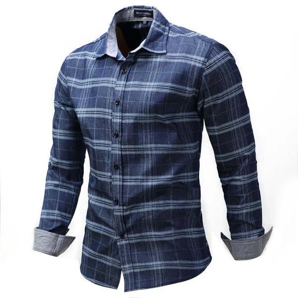 Large Size Men's Casual Plaid Turn-down Collar Shirts