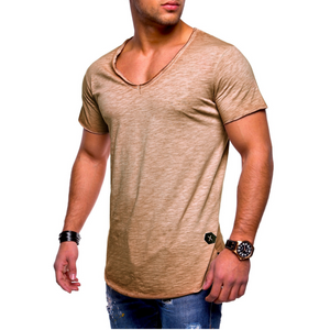 Men's Casual V-Neck Solid Color Cotton T-Shirt
