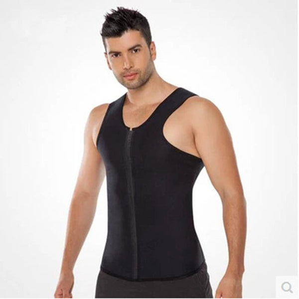 Men's Zippered Sports Vest Extreme Wicking Abdomen Neoprene Corset