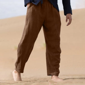 Men's Pants Pockets Elastic Waist Solid Capri Pants