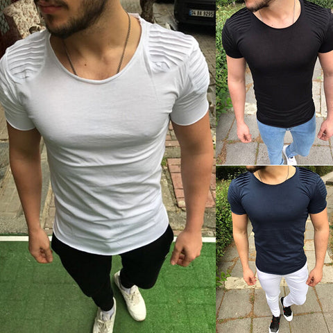 Men's Solid Color Short Sleeve Casual T-Shirt