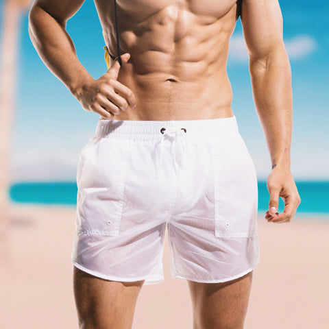 Men's Sexy Semi-transparent Beach Shorts Summer Quick-drying Swim Trunks