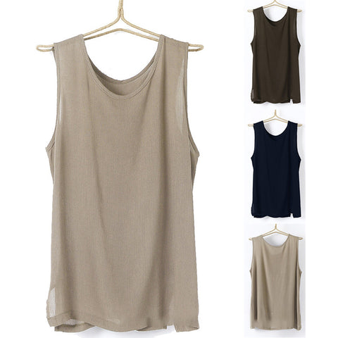Men's Tanks Slit Side Round Neck Casual Tank Tops