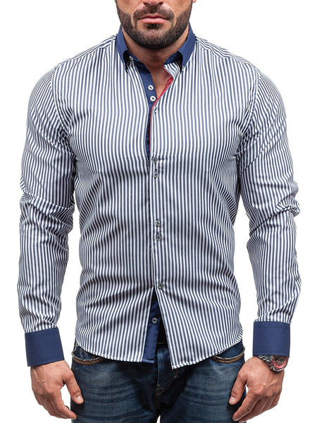 Paneled Striped Shirt Collar Patchwork Shirts & Tops for Men