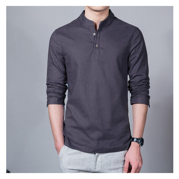Large Size L-5XL Men's Stand Collar Long-sleeved Cotton Linen T-shirt