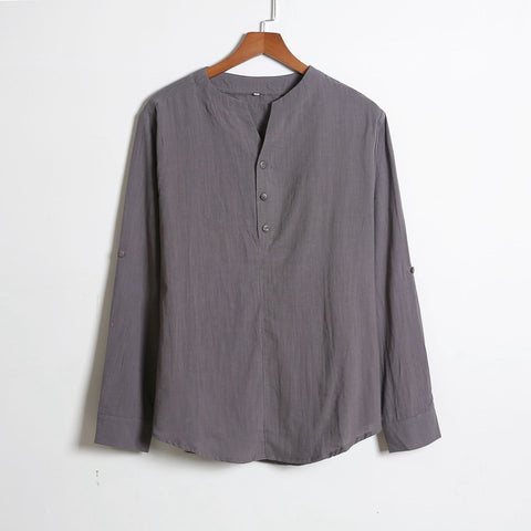 Casual loose Sleek Shirts Men's Solid Color Long Sleeve Shirts