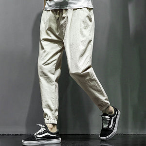 Linen Cotton Casual Pants Men's  Nine Points Harem Feet Pants