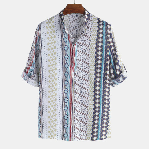 Men's Casual Geometric Print T-Shirts Short Sleeve Lapel Tops