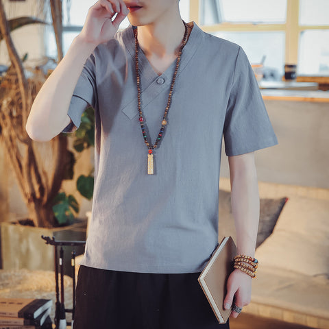 Chinese Style Cropped Sleeve T-Shirt Men's Linen Loose V-Neck Tops
