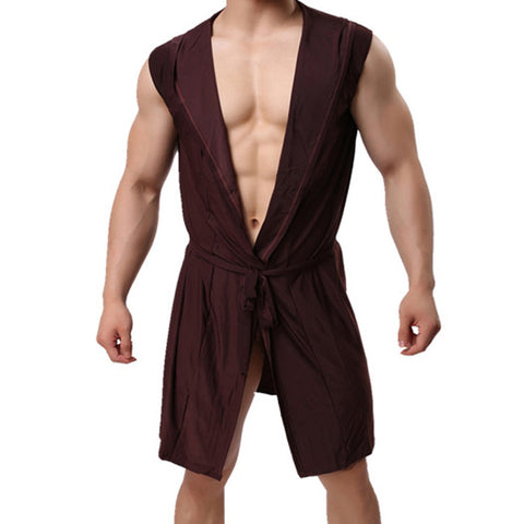 Men's Ice Silk Bathrobe Hooded Sexy Thin Long Loungewear
