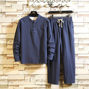 Men's Chinese Style Loose Buckle Long Sleeve Trousers Suit Large Size Set