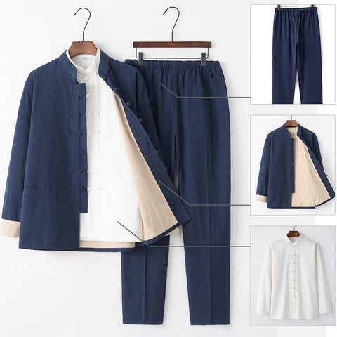 Chinese Style Tang Suit Men's Cotton Linen Buckle Jacket Hanfu Three-piece Set