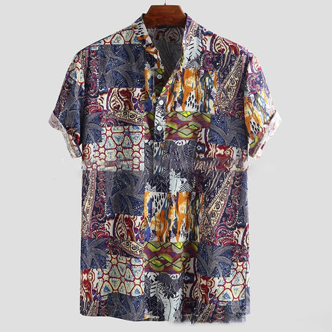 Men's Blouses Printed Stand Collar Casual Shirts