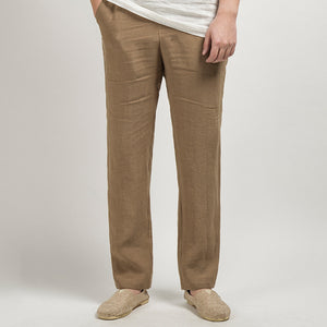 Chinese Style Cotton Linen Soft Breathable Trousers Men's Casual Straight Pants