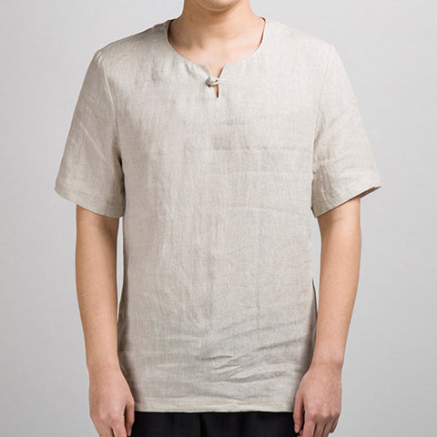Men's Cotton Linen T-shirt V-neck Casual Half-sleeve Tees