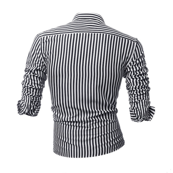 Casual Turn-Down Collar Paneled Striped Shirts & Tops