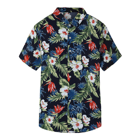 Plus Sizes M-7XL Men's  Button Up Tropical Beach Printed Shirt