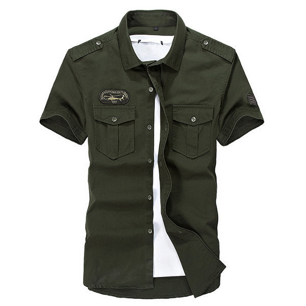 Summer Mens Military Outdoor Turn-down Collar Short Sleeved Cotton Casual Cargo Shirts