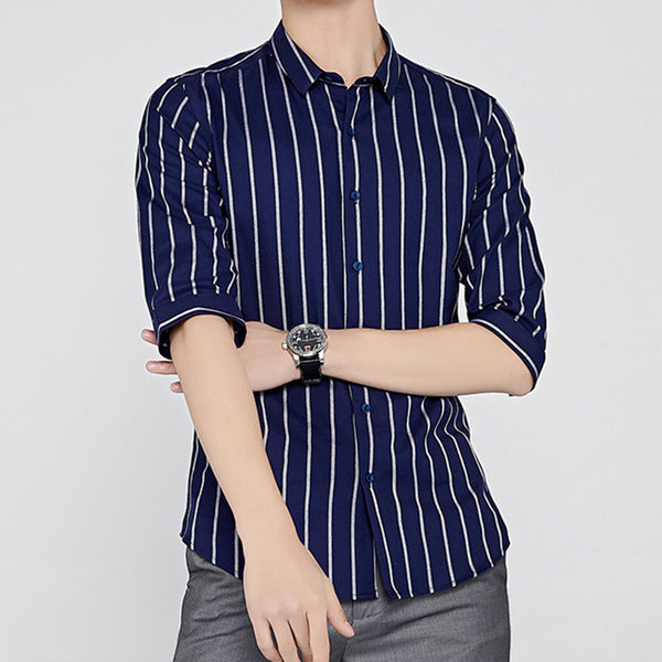Turn-Down Collar Cotton Striped Half Sleeve T-shirts