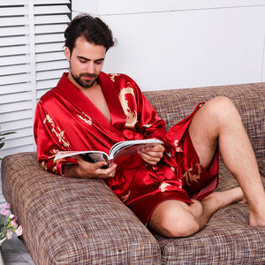 Men's Silk Nightgown Shorts Two-Piece Set Summer Thin Long-Sleeve Pajamas Robe
