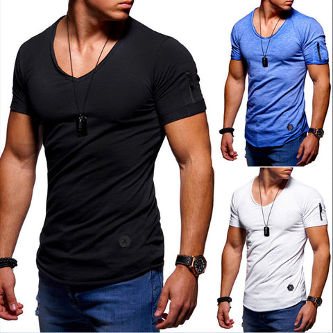 Men's V-neck Cotton Solid Color T-shirt