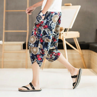 Men`s Floral Beach& Casual Linen Shorts Pants