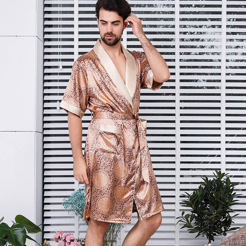 Men's Silk One-piece Nightgown Summer Thin Short-sleeved Pajamas Bathrobe