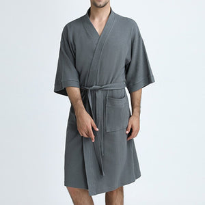 Unisex Pajamas 100% Cotton Short Sleeve Nightgown Bathrobe