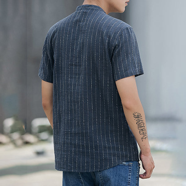 Cotton & Linen Casual Striped Short Sleeve Tshirts