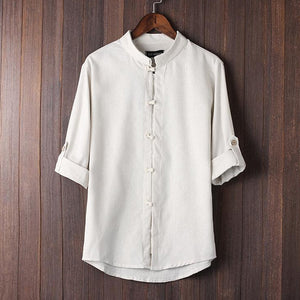 Mens Cotton Stand Collar Long Sleeve Solid Casual Shirts & Tops