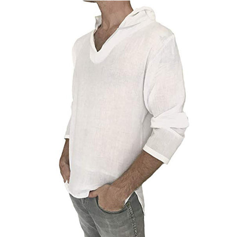 Men's Casual Long Sleeve Hooded T-shirt