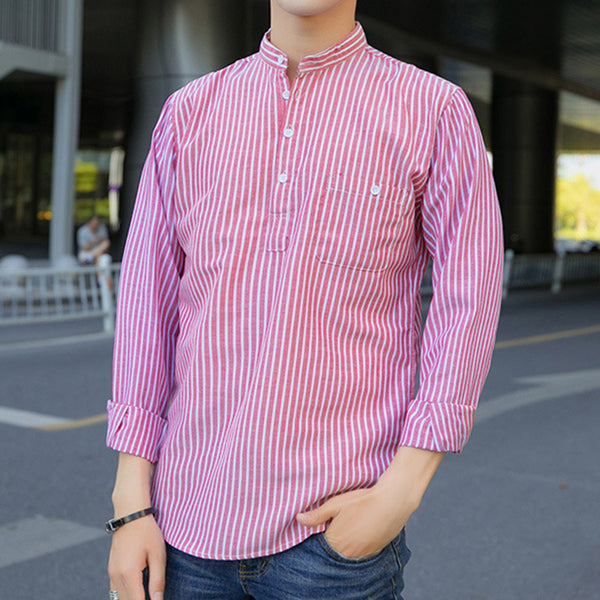 Spring/Fall Striped Casual Turn-Down Collar Shirts & Tops For Men