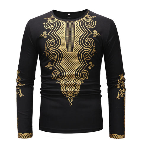 Personality African Style Printing Bottoming Men's Round Neck T-shirt