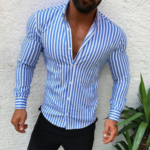 Men's Slim Casual Long Sleeve Striped Shirt
