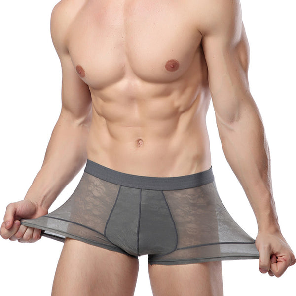 Men's Ice Silk Breathable Hollow Ultra-thin Sexy Boxer Briefs