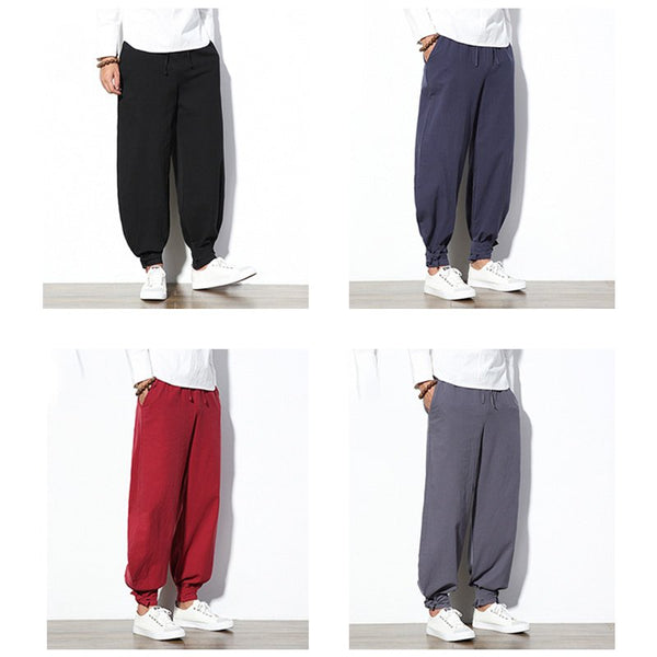 Chinese Style Loose Bloomers Large Size Ethnic Casual Beam Wide Leg Harem Pants
