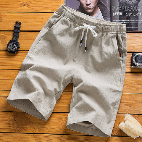 Men's Casual Loose Shorts Breathable Cotton Linen Beach Shorts