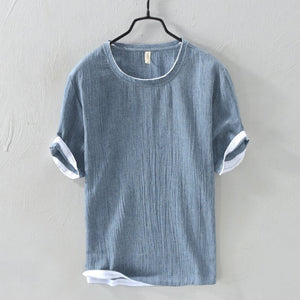 Men's Casual Round Neck T-shirts Summer Solid Colors Short Sleeve Comfort Tops