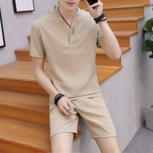 Men's Casual Cotton Linen Two-piece Set Chinese Style Short-sleeved T-shirt Shorts