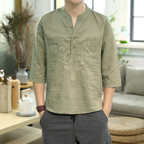 Men's Loose Casual Embroidery Seven-point Sleeve Shirt Chinese Style Linen Short-sleeved Tops