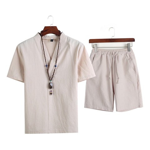 Men's Cotton Short Sleeve T-Shirt Set Solid Color Shorts Two Piece Set