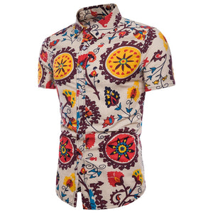 National Style Print Shirts Large Size Men's Short Sleeve Linen Cotton Shirt
