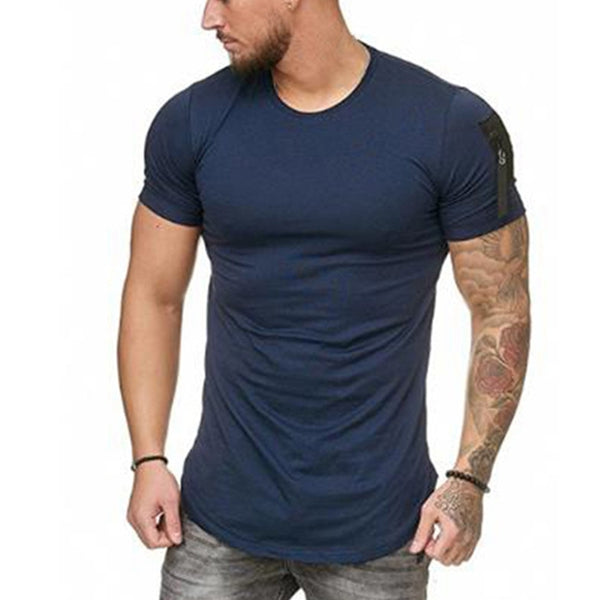 Men's Casual Sports Solid Color Round Neck T-shirt